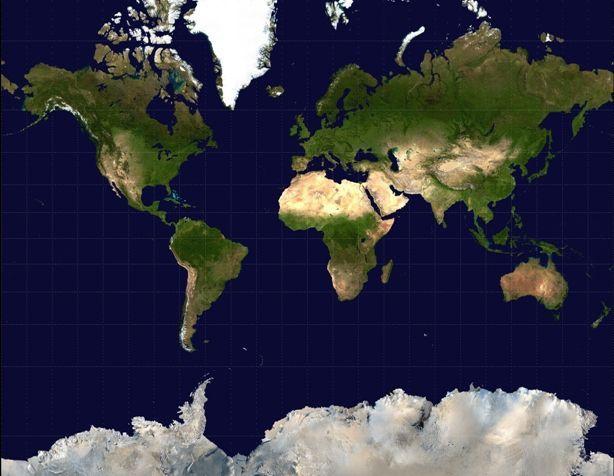 Mapa del mundo vista satélite