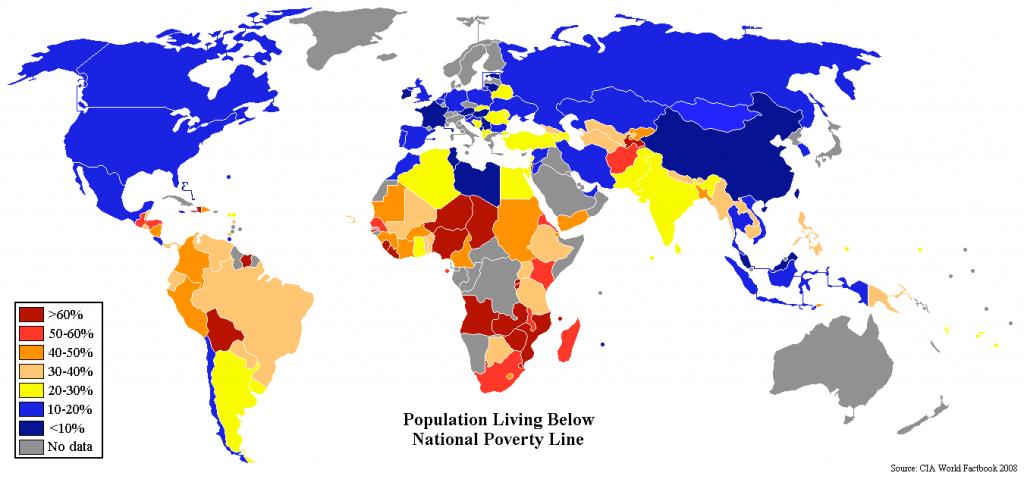Mapa de porcentaje de población en estado de pobreza