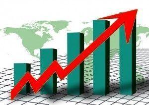 Flecha y barras hacia arriba, incremento, inflación