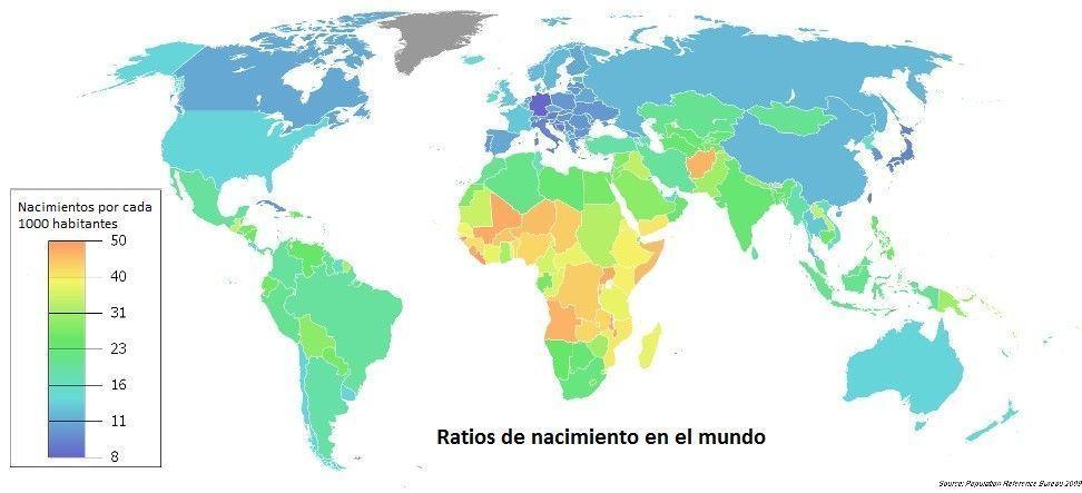 Nacimientos en el mundo por países