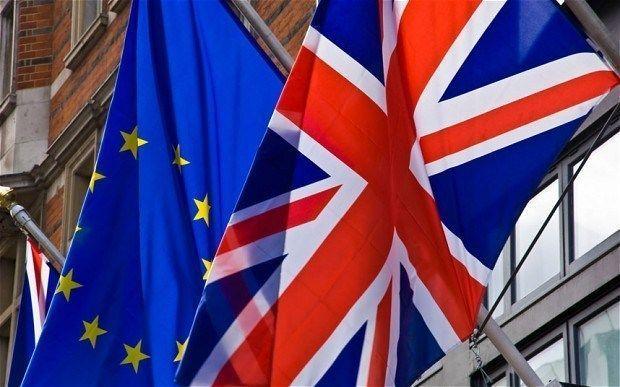 Bandera Reino Unido Gran Bretaña y Unión Europea