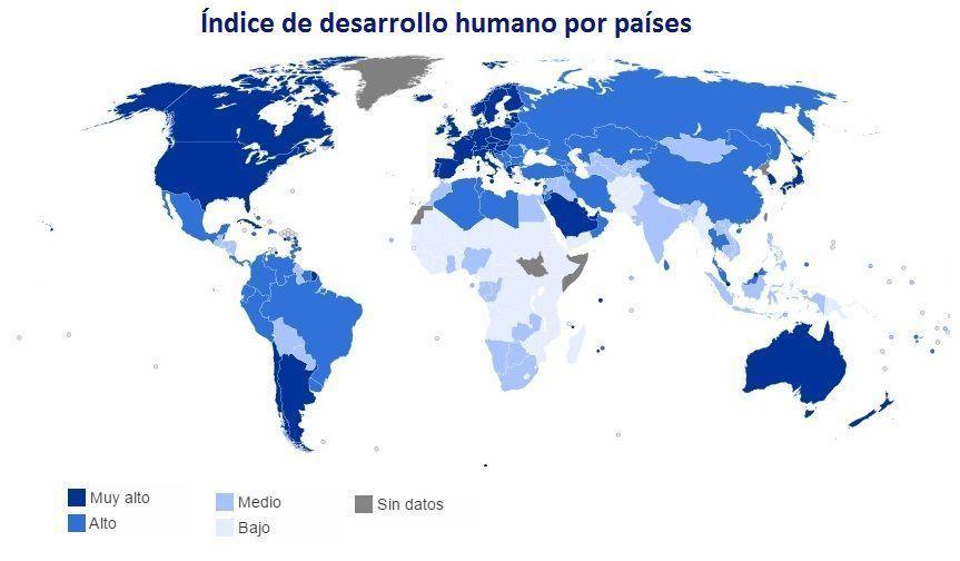 Índice desarrollo humano en el mundo por países