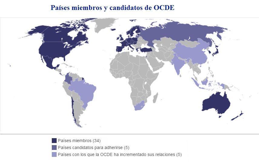 Resultado de imagen para mapa de la OCDE