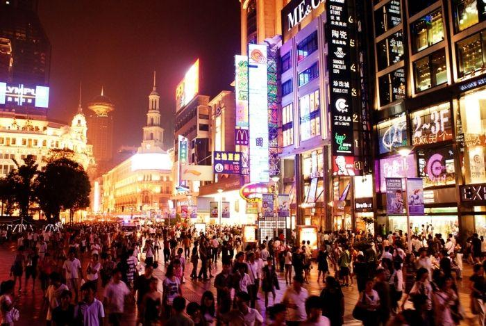 Streets of Shanghai at night, China, East Asia.