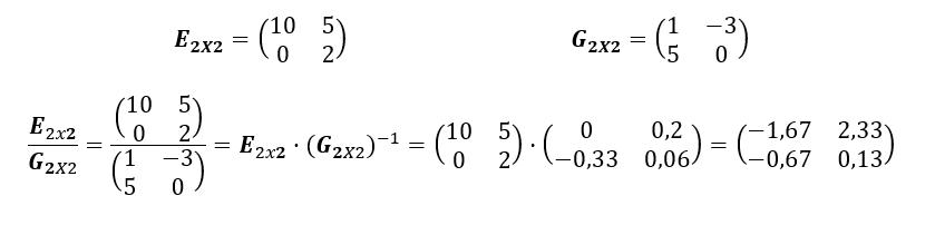 Division De Matrices Ejemplo