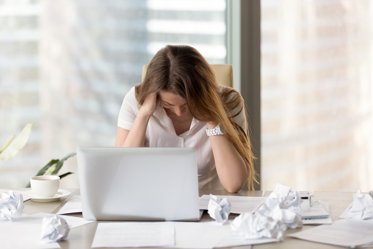 Stressed Female Entrepreneur In Creativity Crisis