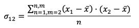 Fórmula Covarianza