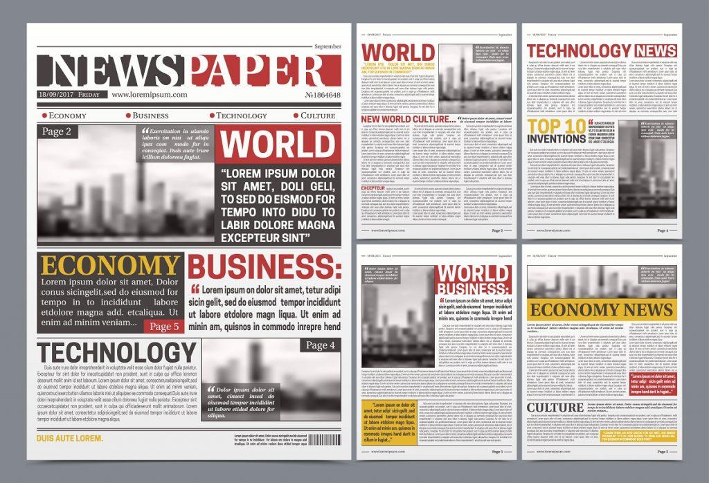 Newspaper Template Design Realistic Poster