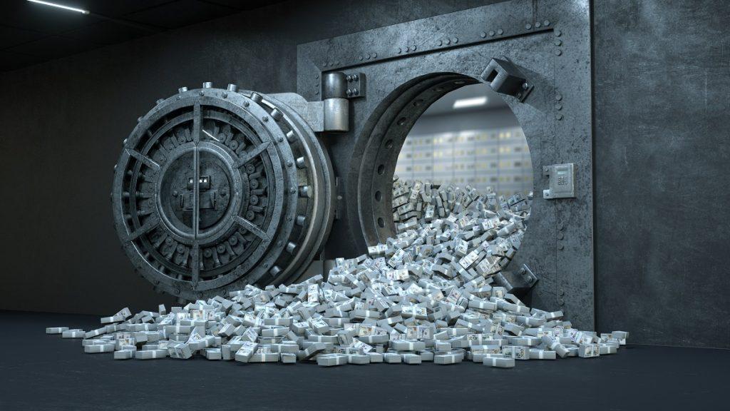 3d Render Opening Of The Vault Door In Bank With A Lot Of Money