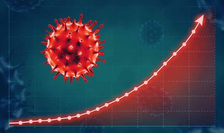 Coronavirus Concept With Growth Graph.