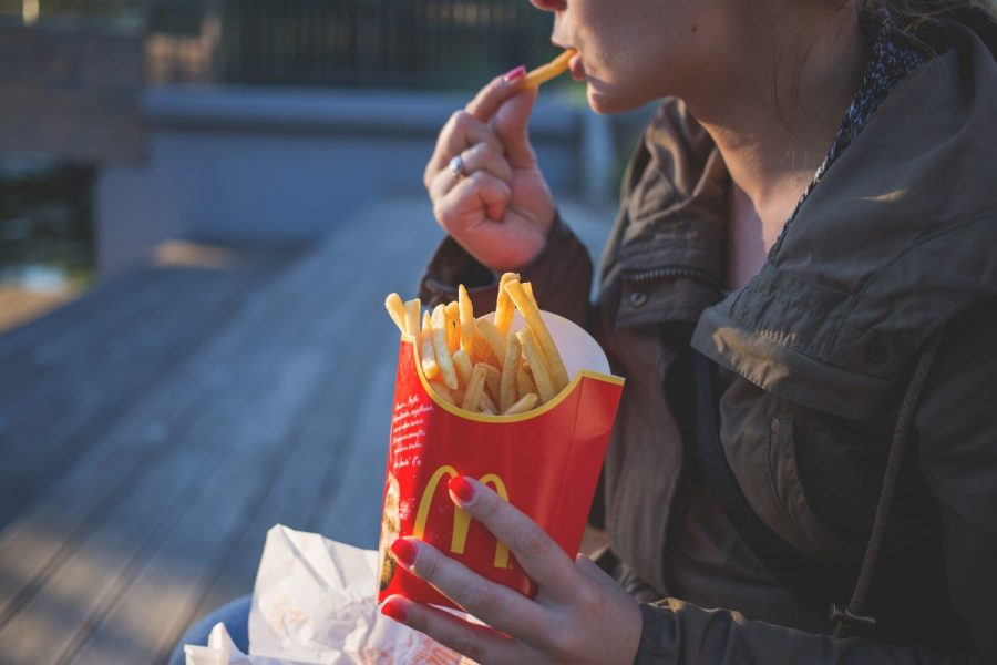 Close Up Coat Eating Fast Food Female Fingers Food French Fries 968280
