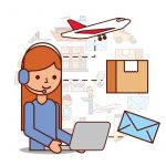 Woman Operator Logistic Headset And Box Envelope Airplane