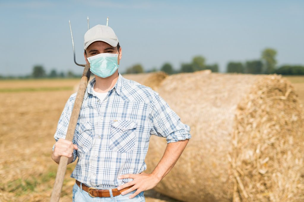 Farmer In His Field While Wearing A Mask, Coronavirus Pandemic Concept